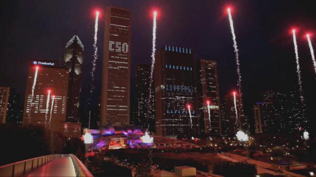Pyromusical fireworks display Chicago